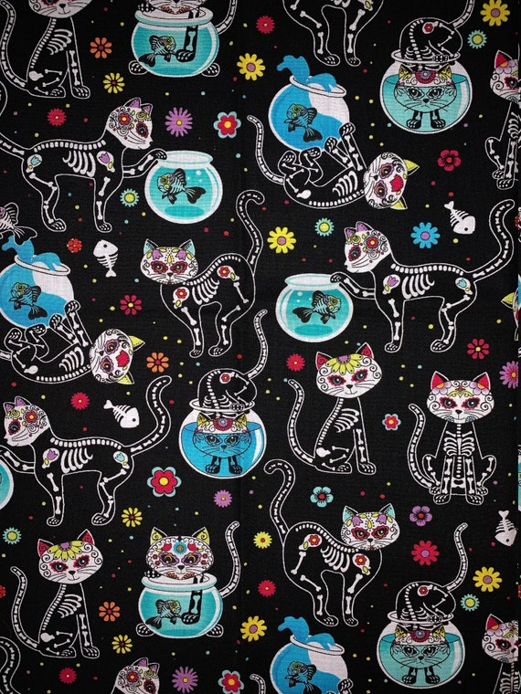 Sugar Skull Cats Bandana, Halloween Cat Costume, XRay Cat Design, Cats and Bones Fabric, Pretty Kitty, Collar Slips Thru, Gift for Cat Lover