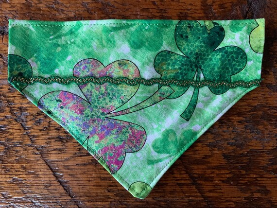 Pet Bandana Assistedly Made by Special Olympians, Collar Slips Thru, Made in Montana, St Patrick's Lucky Dog or Cat Gift, Ready to Ship!