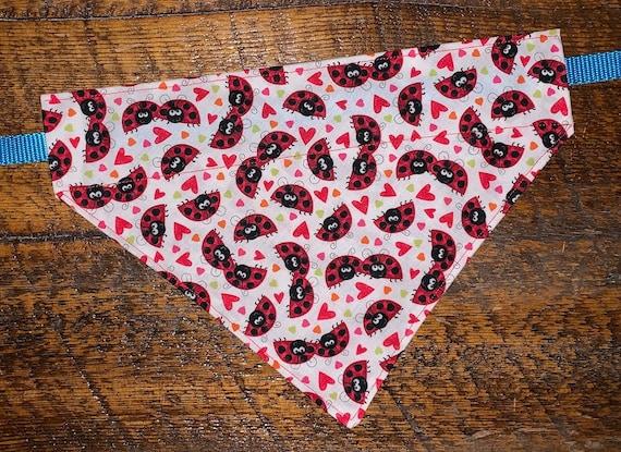 Ladybug Pet Bandana, Montana Made, Fits Thru Collar, Dog Cat Gift, Pet Photo Prop, LoveBugs, Assistedly Made by Special Olympians