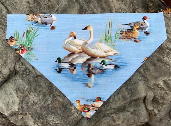 Swan Pet Bandana,for Dog or Cat, Ducks Unlimited, Ducklings, Geese, Pond, Collar Slips Thru, Mallard, Drake, Canada Goose, Made in Montana