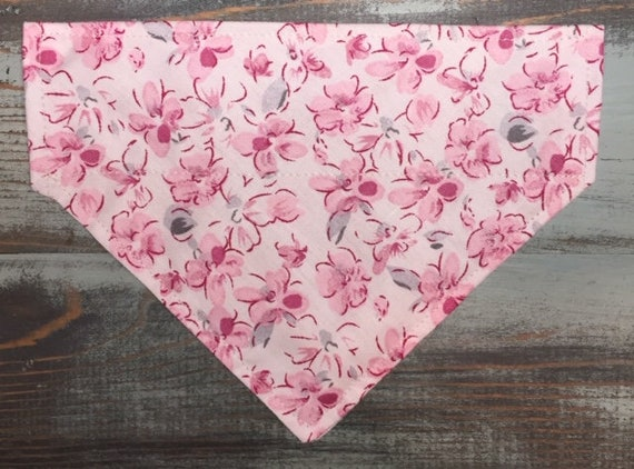 Pink Wildflower Cat Bandana, Collar Slips Thru, Made in Montana, Prop for Spring Pet Photos, Assistedly Sewn by Special Olympians