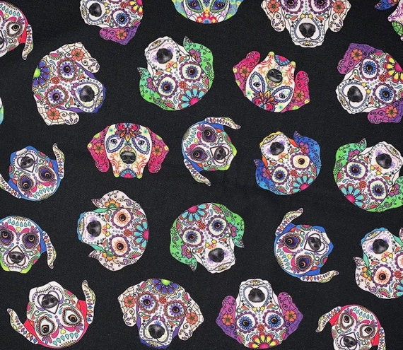 Sugar Skull Dog Faces Pet Bandana, Collar Slips Thru, Day of the Dead Costume for Dogs, Ready to Ship, Made in Montana, Free Shipping!