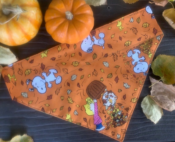 Fall Pet Bandana with Peanuts Gang, Thanksgiving Pet, Cat Guinea Pig, Ferret, Leaf Raking, Autumn, Assistedly Made by Special Olympians