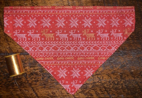 Winter Pet Bandana, SMALL SIZES LEFT, Good Cheer, Made in Montana, First Snow, Pet Groomer Supplies, Pet Gift Ready to Ship!