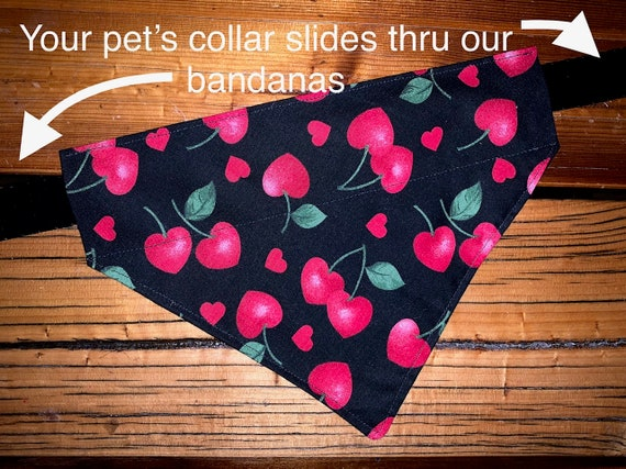 Valentine Pet Bandana, Cherries & Hearts, Made in Montana, Collar Slips Thru, Fits Dogs or Cats, Assistedly Made by Special Olympians