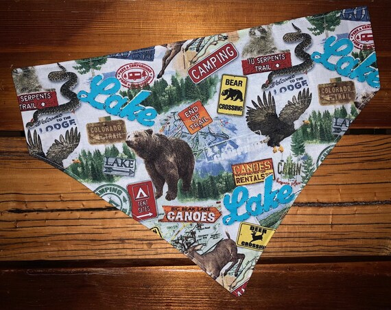 Camping Pet Bandana, Special Needs Project, Thru Collar Bandana, Camping, Hiking, RV, National Park, Grizzly, Deer, Colorado, Maps, Dog Gift