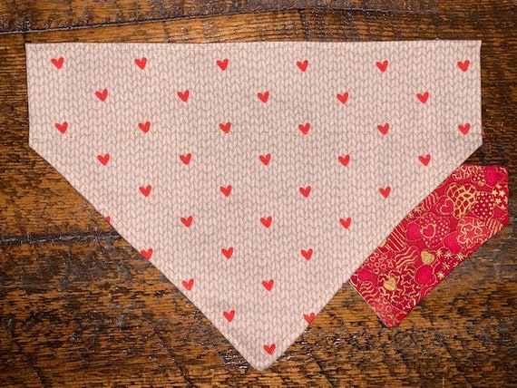 Pet Bandana Metallic Reversible, Made in Montana, Thru Collar Bandana, Dog Cat Gift, Flannel Valentine, Special Needs Assistedly Produced