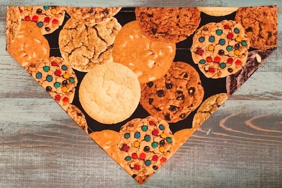 Pet Bandana, Special Needs Project, Thru Collar Dog Cat Gift, Chocolate Chip Bandana, Sugar Cookie, M&Ms, Ready to Ship, Made in Montana