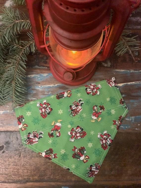 LAST ONE, L, Mickey Dog Bandana, Made in Montana, Collar Slips Thru, Santa Paws, Photo, Christmas Gift, Stocking Stuffer, Grooming Supply