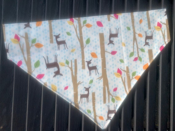 Dog Bandana with Deer and Falling Leaves, Collar Slides Thru the Top, Made in Montana Assistedly by Special Olympians