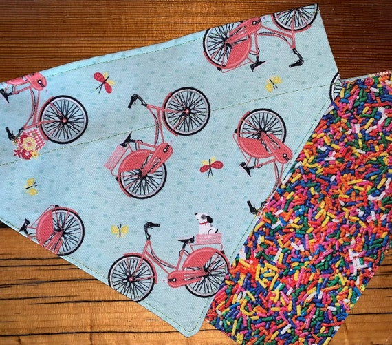Bicyles & Sprinkles Pet Bandana, Reversible, Collar Slides Thru, for Dog or Cat, Made in Montana Assistedly by Special Olympic Athletes!