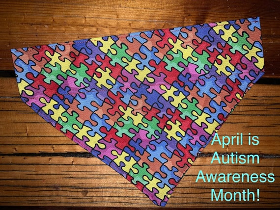 Autism Awareness Pet Bandana, Assistedly Made by Special Olympians in Montana, ASD, Service Dog, April, ESA, Therapy Animal, Ready to Ship!