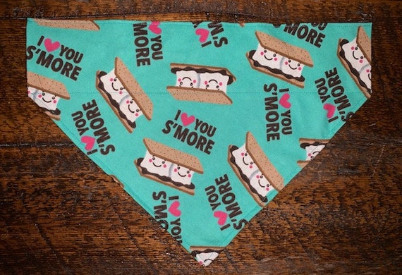 Smores Pet Bandana, Special Needs Project, Made in Montana, Collar or Ribbon Slips thru the Top, Pet Photos, Marshmallows, Flannel Hearts