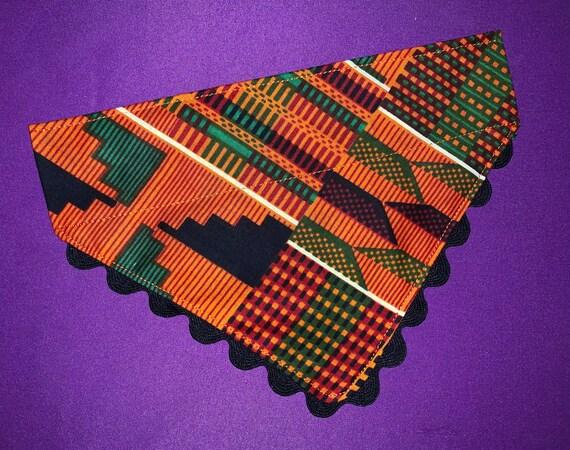 Kente Print Pet Scarf, Tribal Dog Scarf, Designer Bandana, African Print, Dog Cat Bandana, Ferret Cape, Guinea Pig Scarf, Made in Montana