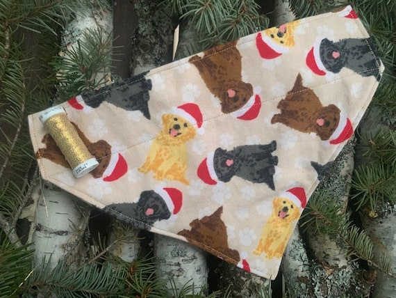 Holiday Labs Bandana, Assistedly Made by Special Olympicans, Collar Slides Thru, Labrador Retriever, Flannel, Made in Montana, Yellow Lab
