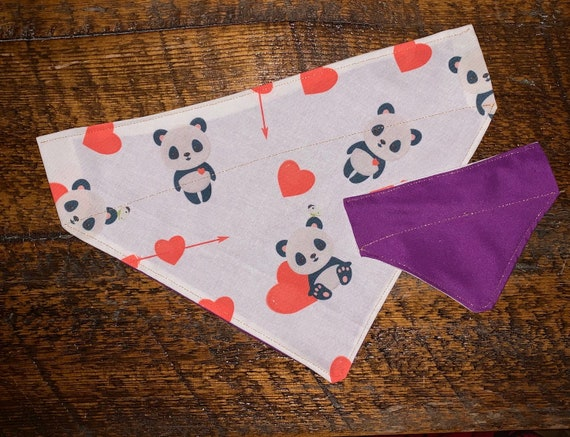 Panda Bears Pet Bandana, Montana Made, Special Needs Project, Reversible Collar Slips Thru Bandana, I Heart My Dog Cat Ferret Guinea Pig