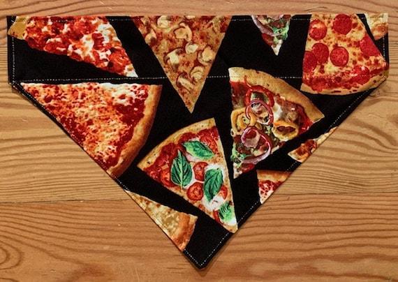 Pizza Pet Bandana, Special Needs Project, Thru Collar Bandana, Dog Cat Gift, Pepperoni Supreme Olives Basil, Made in Montana, Ready to Ship!