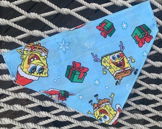 Spongebob Pet Bandana, Spongebob Christmas, Made in Montana, Dog Bandana, Cat Bandana, Thru Collar Bandana, Dog Gift, Cat Gift, Pet Parade