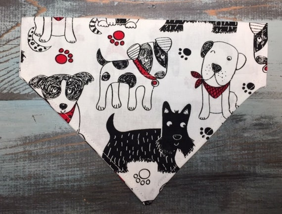 Jack Russell Bandana, Scottie Bandana, Collie Bandana, Black and White, Dog Bandana,  Puppy, Over the Collar Bandana, Made in Montana, RV