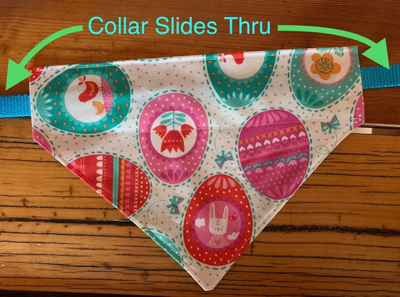 Easter Pet Bandana for Dogs or Cats, Collar Slips Thru, Springtime Pet Photos, Made in Montana Assistedly by Young Adults with Special Needs
