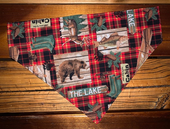 Lodge Theme Pet Bandana, Collar Slips Thru, for Dog or Cat, Made in Montana Assistedly by Special Olympians, Cabin, Bear, River, Canoe, Deer