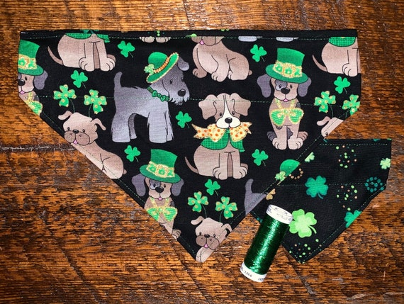 Reversible Dog Bandana, Special Needs Project, St Pat's Thru Collar, Made in Montana, Glittery Shamrocks, Metallic Green, Ready to Ship!