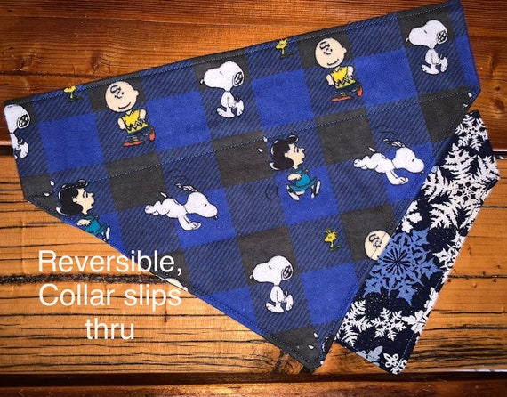 Peanuts Pet Bandana, Cozy Reversible to Sparkly Winter Snowflakes, fits Dog Cat or Critter, Assistedly Produced by Special Olympic Athletes