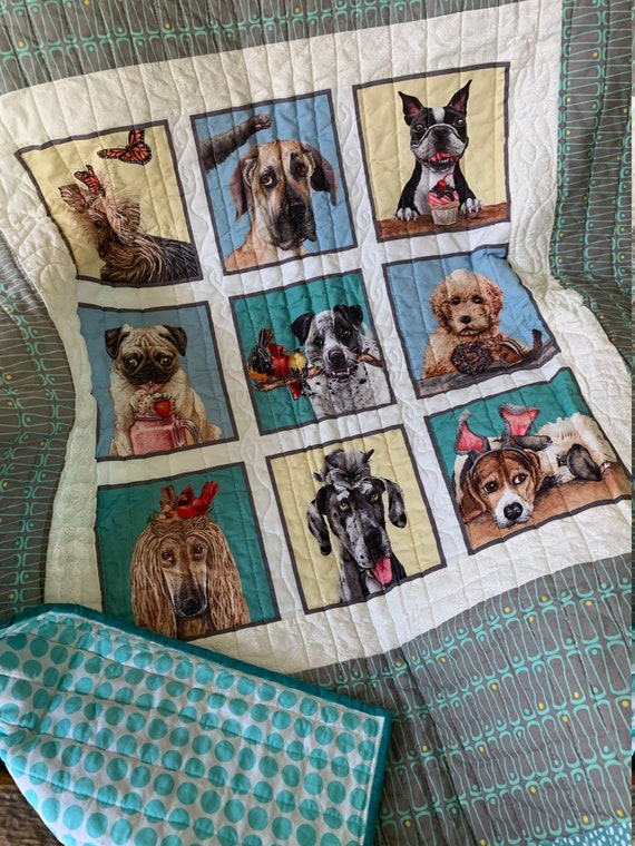 Happy Dogs Lap Quilt, Reversible Gift for Dog Lover, 40 x 52, Made in Montana, Ready to Ship, Packaged & Shipped by Special Olympic Athletes