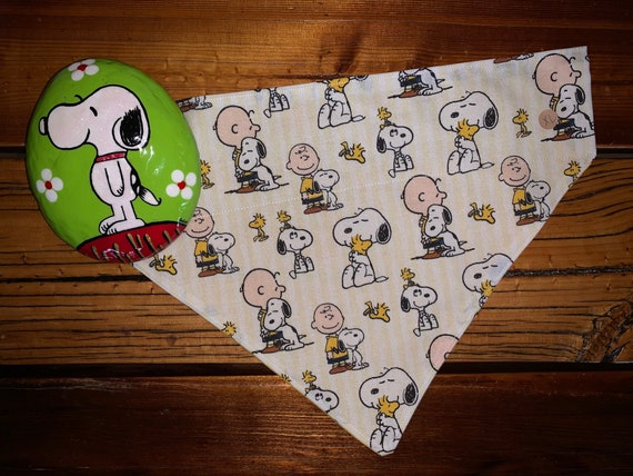 Snoopy Hugs Pet Bandana, Made in Montana Assistedly by Special Olympians, Collar Slides Thru, Beagle, Peanuts, Charlie Brown, Ready to Ship!