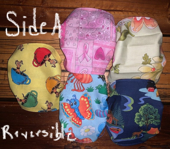 Pack of 5 REVERSIBLE Masks for Pediatric, Nursing, Teacher, Dental, in themes of Breast Cancer, Snoopy, Heroes, Camping, Dr Seuss, Classroom