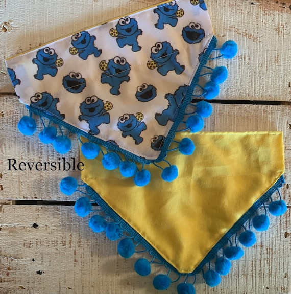 Designer Dog Bandana, Reversible, Cookies Dog Scarf, Collar Slips Thru, Made in Montana Assistedly by Young Adults with Special Needs