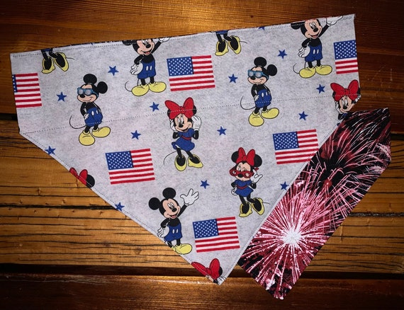 Reversible Mickey Pet Bandana, Collar Slides Thru, Gift for Dog or Cat, Patriotic, Made in Montana Assistedly by Special Olympic Athletes