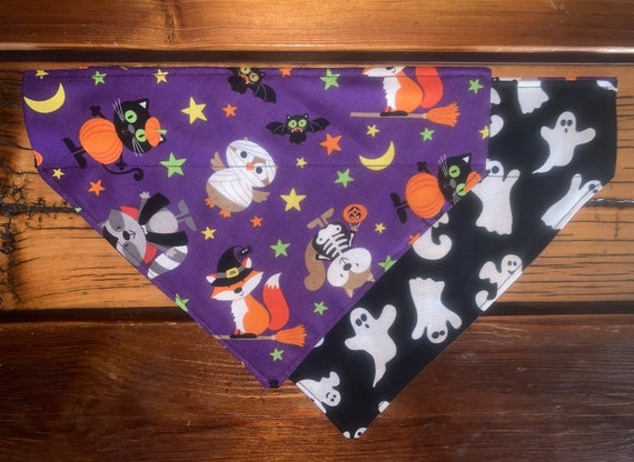 REVERSIBLE Pet Bandana for Halloween, Collar Slips Thru, Costumed Animals and Ghosts, Free Shipping, Assistedly Made by Special Olympians =)