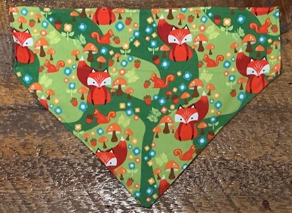 Foxy Flannel Pet Bandana, Dog Bandana, Thru Collar Bandana, Autumn Cozy Pet Gift, Ships Free, Assistedly Produced by Special Olympians!