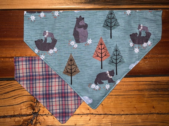 Reversible Pet Bandana, Assistedly Made by Special Olympians, Dog Cat Stocking Stuffer, Holiday Pet Pics, Woodland Wildlife, Christmas Plaid