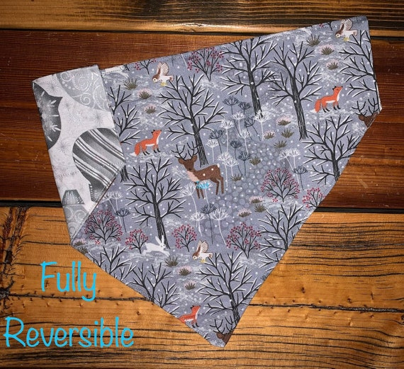 Reversible Pet Bandana Assistedly Made by Special Olympians, Collar Slides Thru, Made in Montana, Specialty Fabrics, Great for Pet Pics