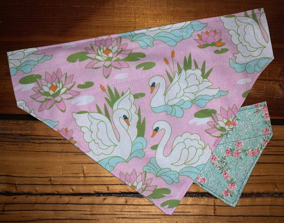 REVERSIBLE Swan Pet Bandana, Montana Made, Collar Slips Thru, Valentine Dog or Cat, Photo Prop, Assistedly Made by Special Olympic Athletes