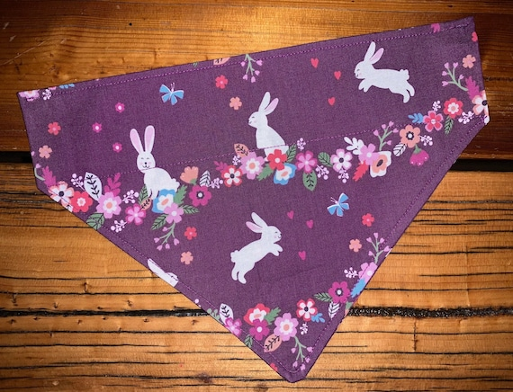 Easter Pet Bandana for Dogs Cats or Critters, Collar Slips Thru, Spring Photo, Made in Montana Assistedly by Young Adults with Special Needs