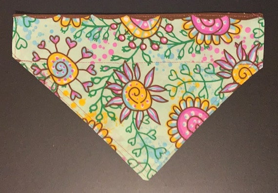 Boho Dog Bandana, LAST ONE MEDIUM, Valentine's Day Pet, Collar Slips Thru, Made in Montana Assistedly by Young Adults with Special Needs =)