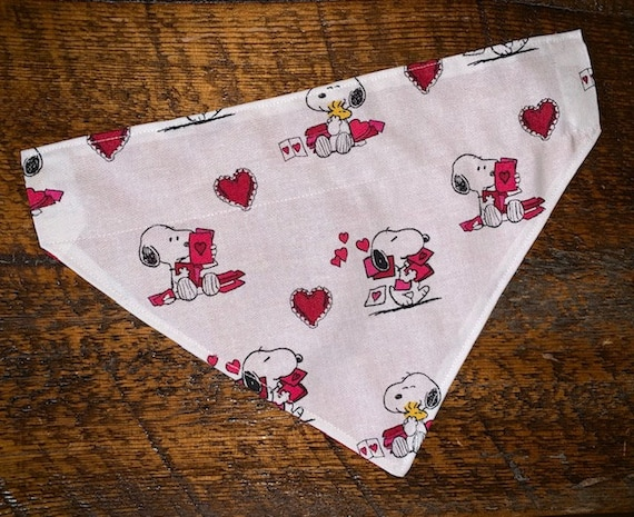 Pet Bandana Assistedly Made by Young Adults with Special Needs, Thru Collar Bandana, Hearts Love Lovenotes, Snoopy Woodstock, Montana Made