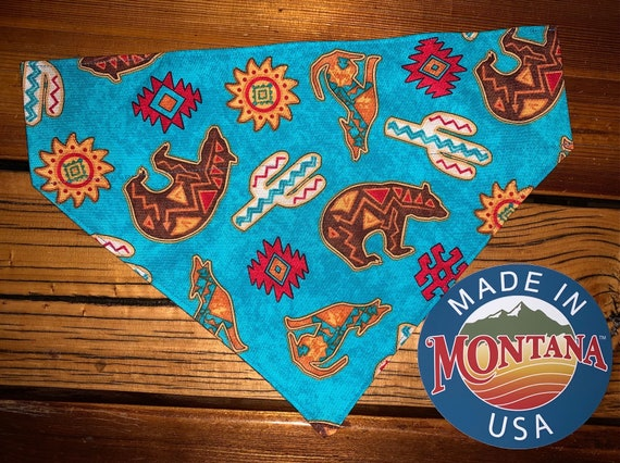 Southwest Pet Bandana, Collar Slides Thru, Ready to Ship, Gift for Dog or Cat, Made in Montana Assistedly by Special Olympic Athletes