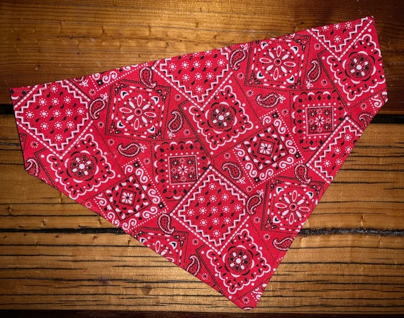 Classic Pet Bandana, Collar Slips Thru, for Dog or Cat, Cowboy or Cowgirl, Red Bandana Fabric, Made in Montana, Campfire, Vacation, Picnic