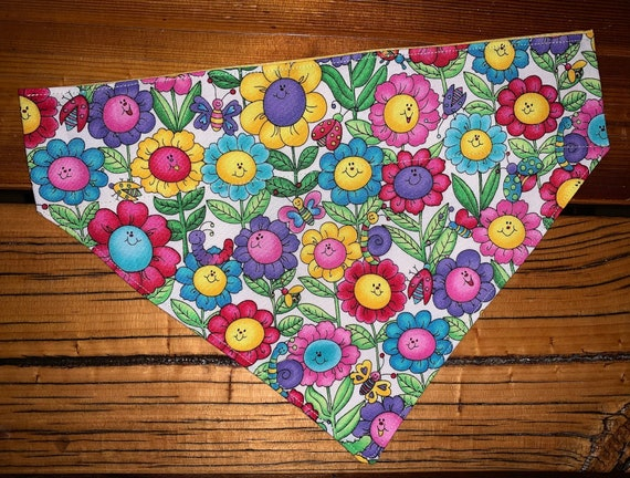 Happy Flowers Pet Bandana, Gift for Dogs Cats Critters, Mothers Day Pet Gift, Made in Montana Assistedly by Young Adults with Special Needs