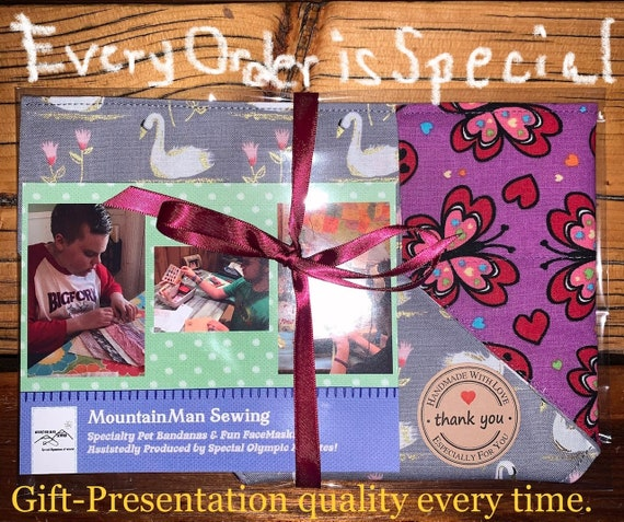 Surprise BANDANA-GRAM, Assistedly Produced by Special Olympians, Custom, Mystery Gift for Dog Cat Ferret Guinea Pig Critter, Over the Collar