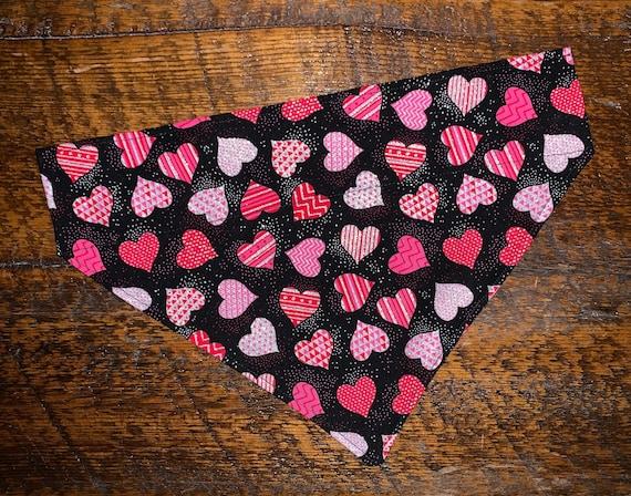 Glittery Hearts Pet Bandana, Special Needs Project, Valentine Dog Cat Ferret Pig Gift, Made in Montana, Thru Collar Bandana, I Heart My Pet