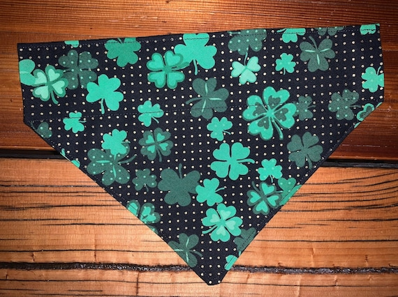 Lucky Pet Bandana for St Patrick's Day, for Dogs or Cats, Collar Slips Thru, Made in Montana Assistedly by Young Adults with Super-Abilities