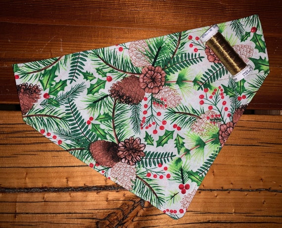 Holly Pet Bandana, Collar Slides In, Christmas, Stocking Stuffer, Dog Cat Gift, Assistedly Made in Montana by Young Adults w/Special Needs