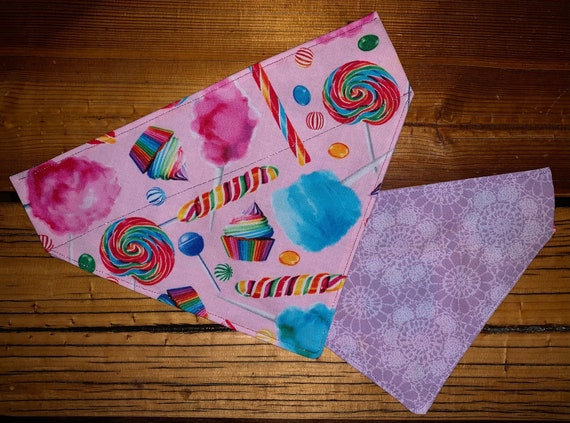 Sweet Pet Bandana Reversible for Dog or Cat, Made in Montana Assistedly by Special Olympians, Collar Slips Thru, Valentine, Cupcake, Candies