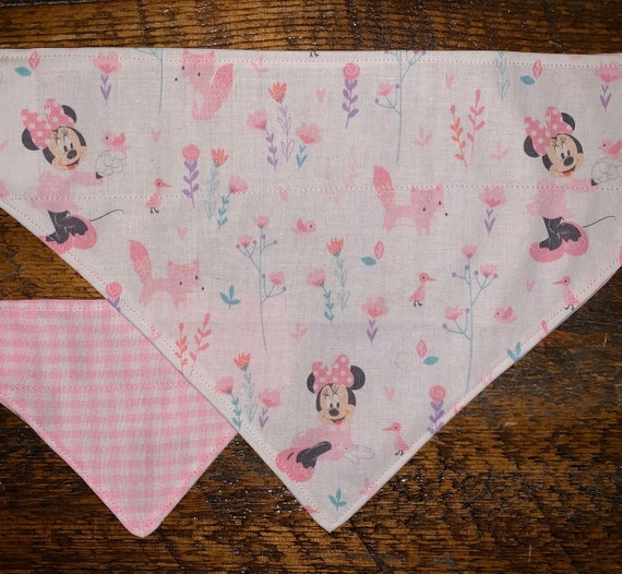 Minnie Mouse Pet Bandana, Assistedly Made by Special Olympians, Reversible Pink Gingham, Collar Slips Thru, Made in Montana, Ready to Ship!