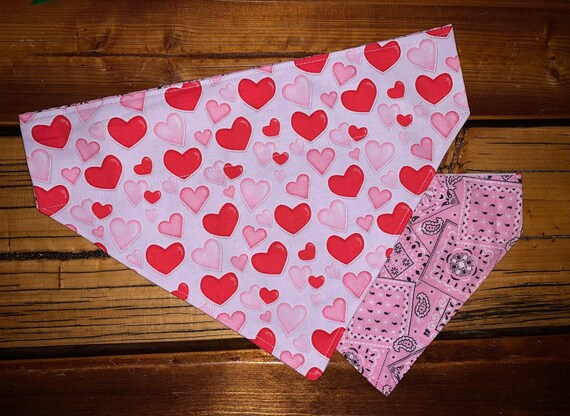 Reversible Pet Bandana, Sizes for Dog or Cat or Critter, Happy Hearts, Made in Montana Assistedly by Young Adults with Special Needs =)